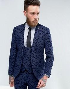 Супероблегающий пиджак с леопардовым флоковым узором Noose & Monkey - Синий