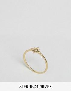 Кольцо из позолоченного серебра со звездочкой ASOS - Золотой