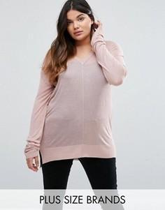 Джемпер с V-образным вырезом Elvi Plus - Розовый
