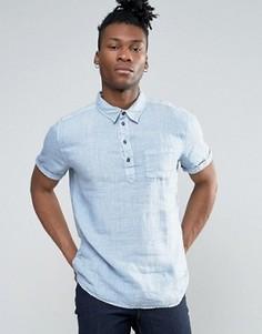 Рубашка с горловиной на пуговицах и короткими рукавами Pepe Jeans - Синий