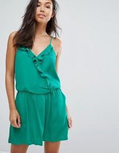 Платье-комбинация с оборками See U Soon - Зеленый