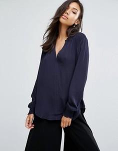 Блузка с V-образным вырезом See U Soon - Темно-синий