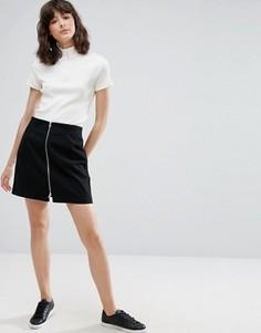 Мини‑юбка с молнией спереди Weekday - Черный
