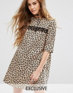Платье мини с леопардовым принтом Reclaimed Vintage - Коричневый