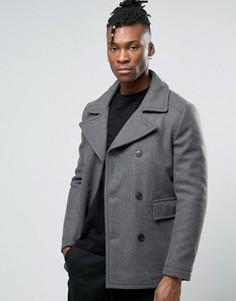 Шерстяное пальто-бушлат Selected - Серый