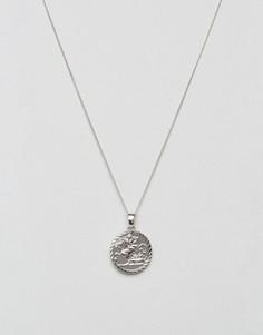 Серебристое ожерелье с медальоном-совереном Chained & Able - Серебряный