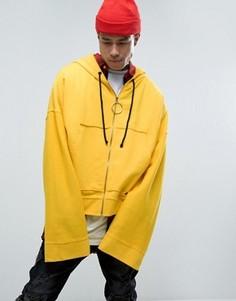Желтый укороченный худи с супердлинными рукавами Granted - Желтый