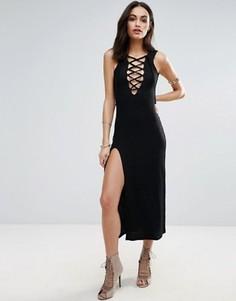 Платье-комбинация со шнуровкой спереди Jovonna - Черный