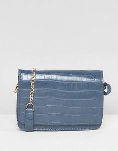 Синяя сумка-седло с эффектом крокодиловой кожи Glamorous - Синий