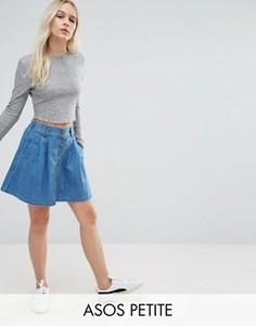 Короткая расклешенная юбка из синего денима на пуговицах ASOS PETITE - Синий