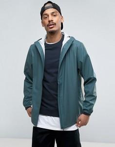 Синяя короткая базовая водонепроницаемая куртка с капюшоном и скрытой молнией Rains - Синий