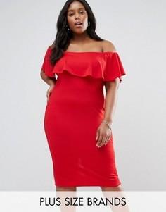 Платье с широким вырезом и оборкой Club L Plus - Красный