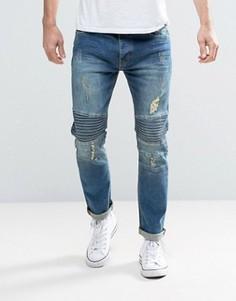 Байкерские джинсы скинни Brave Soul - Синий
