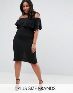 Платье с широким вырезом и оборкой Club L Plus - Черный