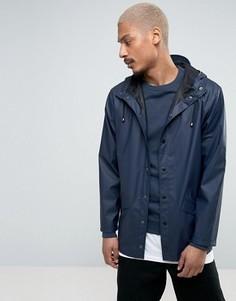 Темно-синяя короткая водонепроницаемая куртка с капюшоном Rains - Темно-синий