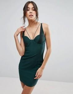 Платье мини с сетчатыми вставками Rare - Зеленый