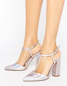 Туфли цвета металлик с острым носком на блочном каблуке Little Mistress - Серебряный