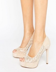 Телесные туфли на каблуке с открытым носком и цветочным кружевом Little Mistress - Бежевый