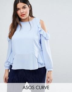 Блузка с вырезами и рюшами на плечах ASOS CURVE - Синий