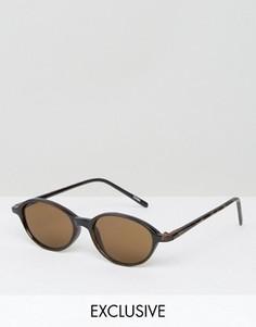 Круглые солнцезащитные очки с коричневыми стеклами Reclaimed Vintage - Черный