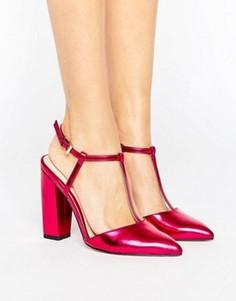 Туфли цвета металлик с острым носком на блочном каблуке Little Mistress - Розовый