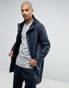 Темно-синяя длинная непромокаемая куртка с капюшоном Rains - Темно-синий