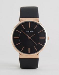 Часы с корпусом цвета розового золота и черным кожаным ремешком Sekonda эксклюзивно для ASOS - Черный