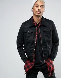 Черная байкерская куртка в замшевом стиле Criminal Damage - Черный