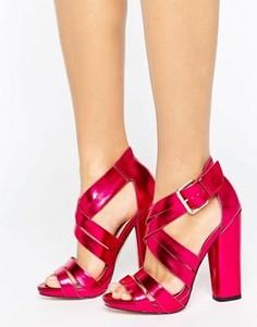 Сандалии на каблуке с ремешками крест-накрест Little Mistress - Розовый