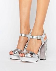 Серебристые сандалии на каблуке с отделкой Little Mistress - Серебряный