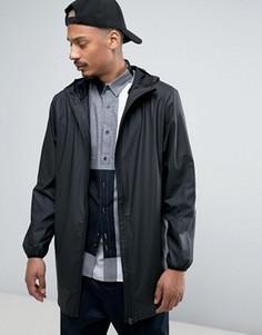 Черная длинная базовая водонепроницаемая куртка с капюшоном и скрытой молнией Rains - Черный