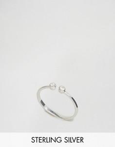 Разомкнутое серебряное кольцо с камнем ASOS - Серебряный