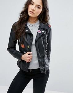 Куртка из искусственной кожи с нашивками ONLY - Черный