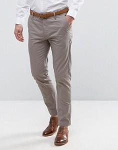 Узкие строгие чиносы с поясом Burton Menswear - Серый