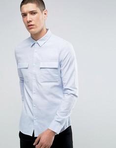 Узкая саржевая рубашка Burton Menswear - Синий