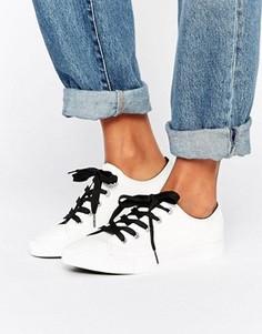 Кроссовки из искусственной кожи с контрастными шнурками New Look - Белый