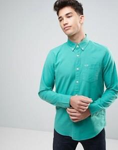 Оксфордская узкая рубашка из зеленой эластичной ткани на пуговицах Hollister - Зеленый
