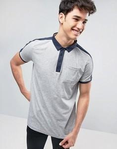 Футболка-поло с контрастным карманом Brave Soul - Серый