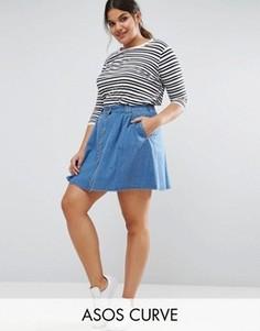 Короткая расклешенная джинсовая юбка на пуговицах ASOS CURVE - Синий