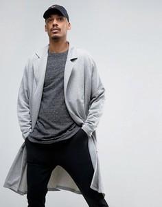 Супердлинное легкое трикотажное пальто ASOS - Серый