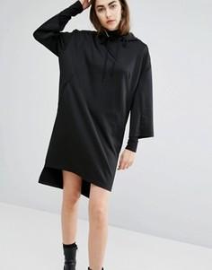 Трикотажное oversize-платье с капюшоном Cheap Monday - Черный