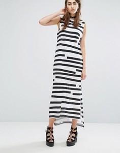 Платье макси в полоску с асимметричным подолом Cheap Monday - Мульти