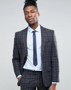 Серый узкий пиджак в темно-синюю и серую клетку Harry Brown - Серый