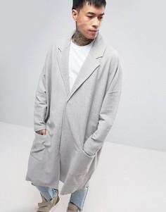 Серое трикотажное легкое oversize‑пальто ASOS - Серый