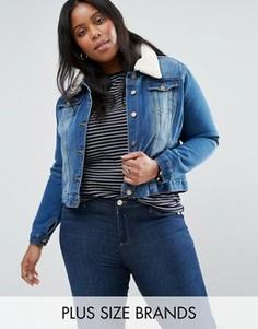 Джинсовая куртка с воротником из искусственного овечьего меха Brave Soul Plus - Синий