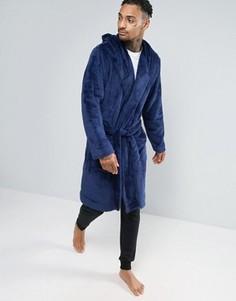 Флисовый халат с капюшоном ASOS - Синий