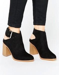 Туфли из искусственной замши на каблуке с ремешком на пятке New Look - Черный