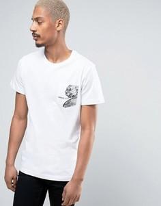 Белая футболка с принтом на кармане Versace - Белый