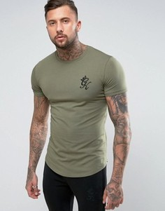 Облегающая футболка с логотипом Gym King - Зеленый