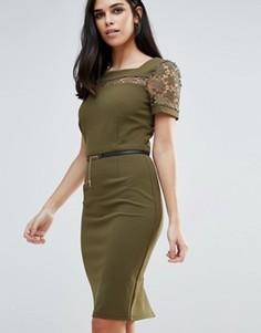 Платье-футляр с поясом Paper Dolls - Зеленый